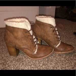 Brown Booties with White Fur!